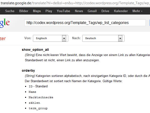 wp_list_categories Übersetzung von Google