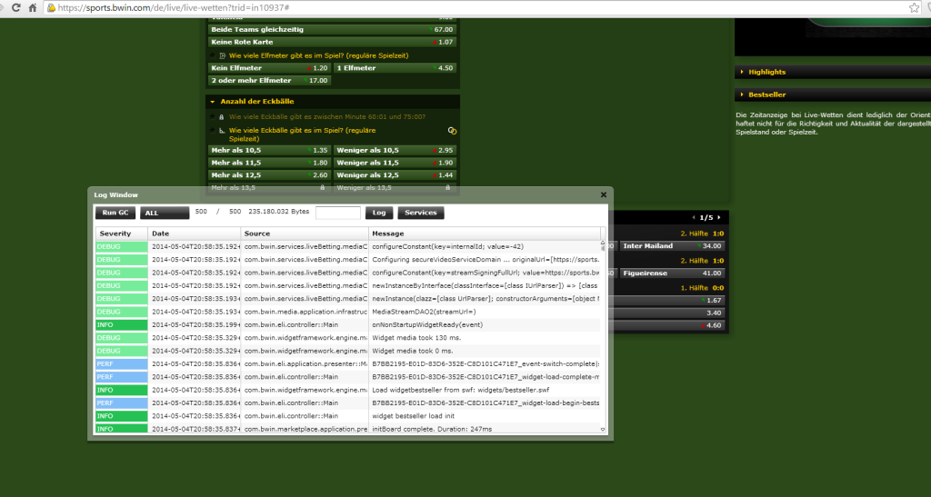 Screenshot bwin.de Entwicklerkonsole
