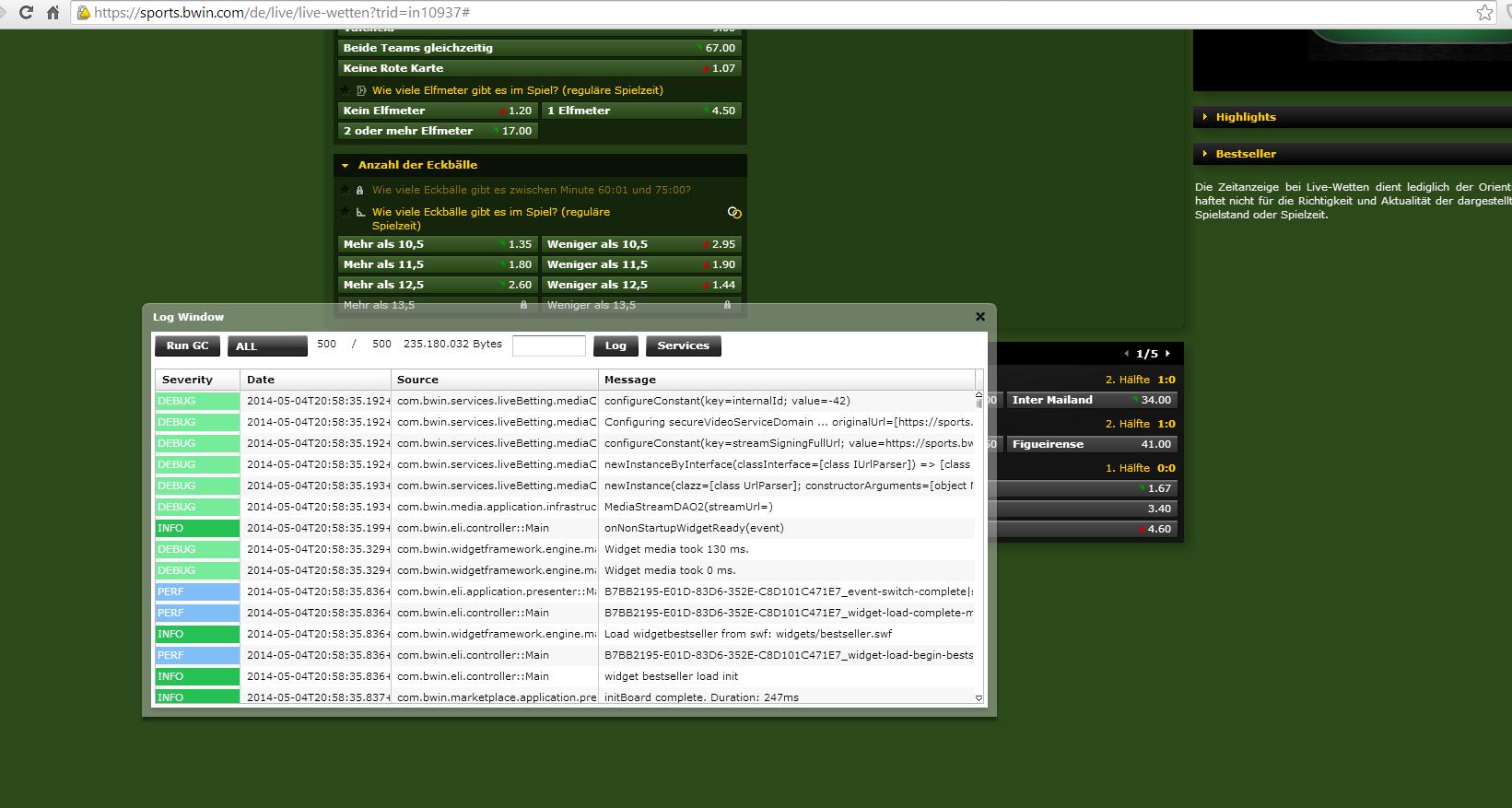 Screenshot bwin.de Entwicklerkonsole