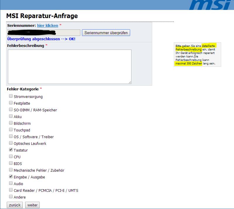 msi.com - Bitte detaillierte Fehlerangaben machen aber maximal 300 Zeichen
