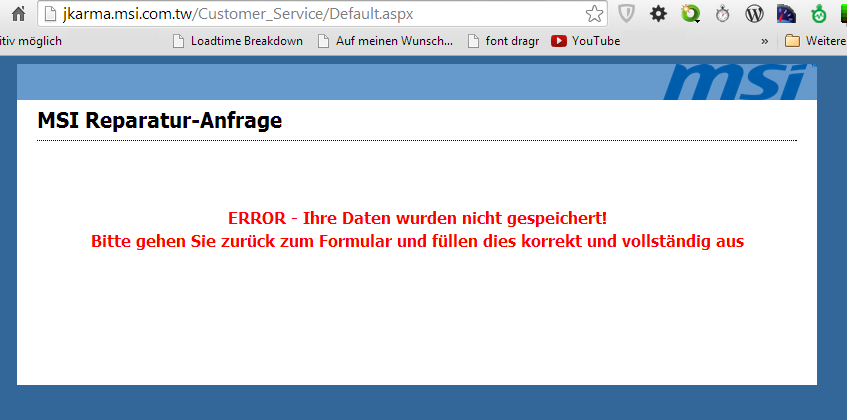 msi.com ERROR Ihre Daten wurden nicht gespeichert