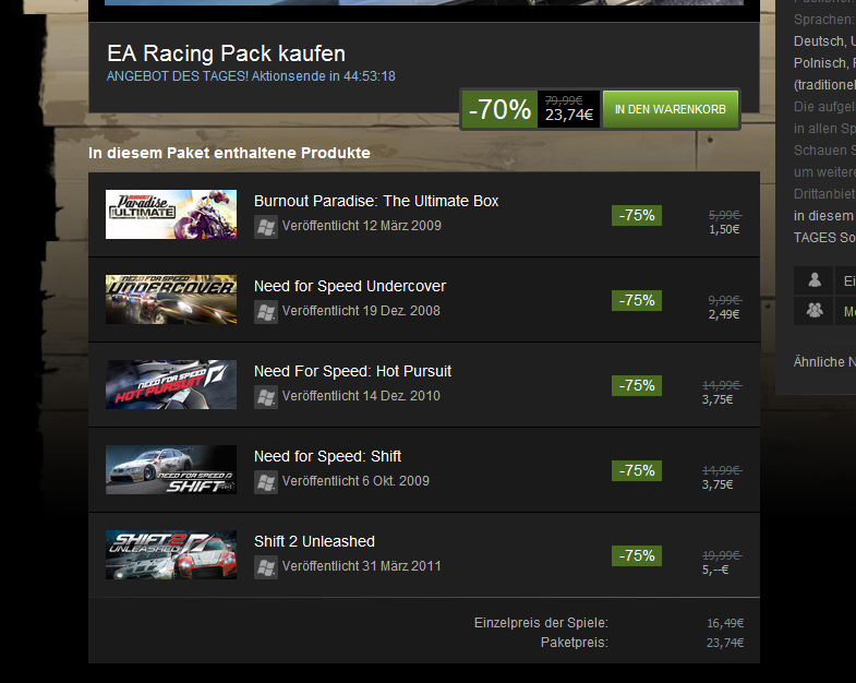 Steam: Need for Speed Einzelpreise billiger als Paketpreis