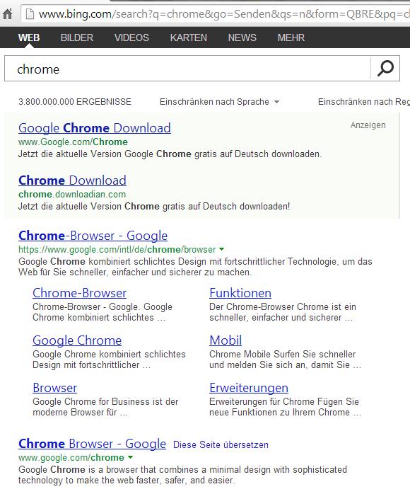 bing.com Suchergebnis für Chrome Browser mit manipuliertem Link