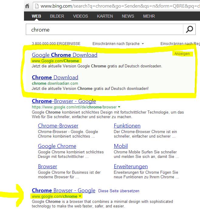bing.com Suchergebnis für den Chrome Browser mit manipuliertem Link im Anzeigenbereich gehighlighted