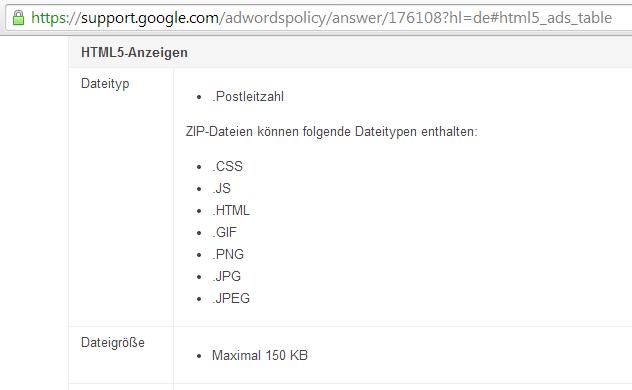 Google AdWords Dateityp: .Postleitzahl statt .ZIP