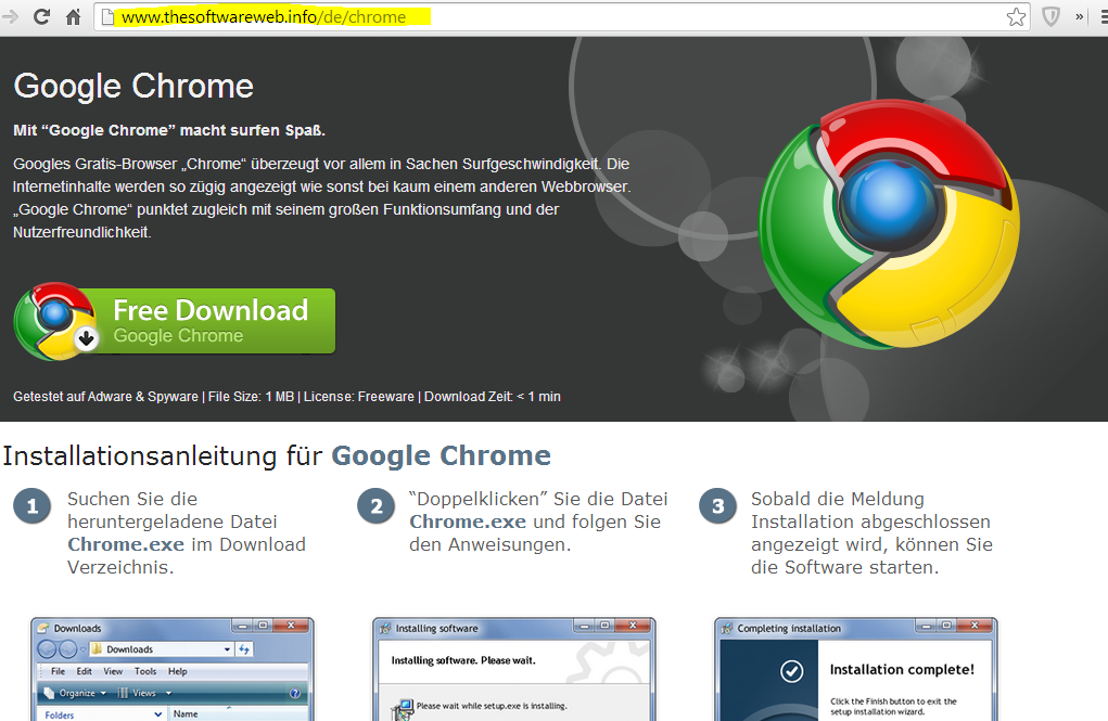 thesoftwareweb.info Screenshot Chrome-Download-Seite