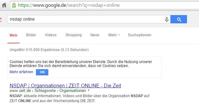 Google-Ergebnistreffer #1 vom 01.12.2014 für NSDAP online