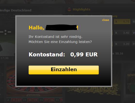 """bwin.de - """"kein Geld mehr"""" - Overlay direkt nach dem Einloggen"""