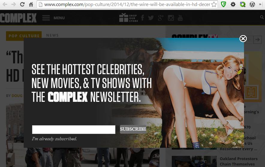 complex.com Artikelseite mit Newsletter-Overlay