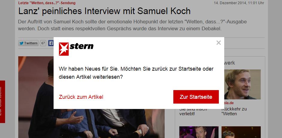 stern.de - Artikelseite: Overlay wegen Neuigkeiten auf der Startseite