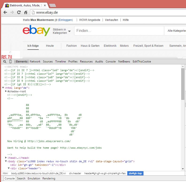 ebay.de Jobanzeige im Quelltext