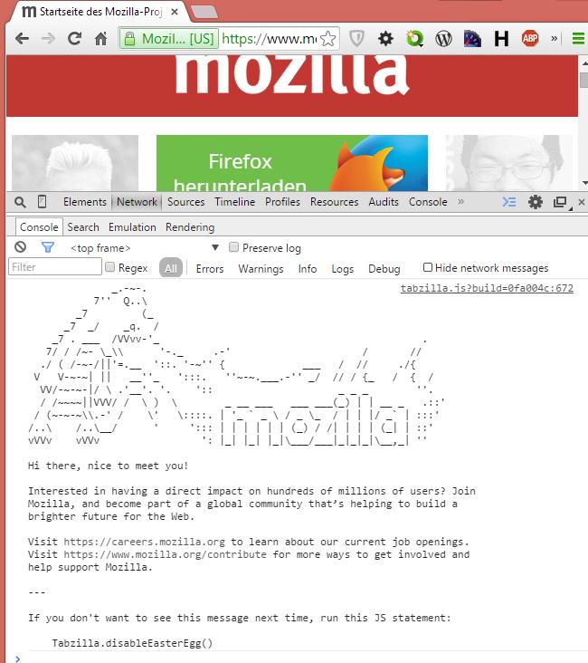 mozilla-europe.org Jobanzeige in der Entwicklerconsole