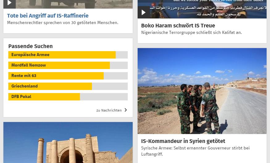 web.de - passende Suchen zum IS