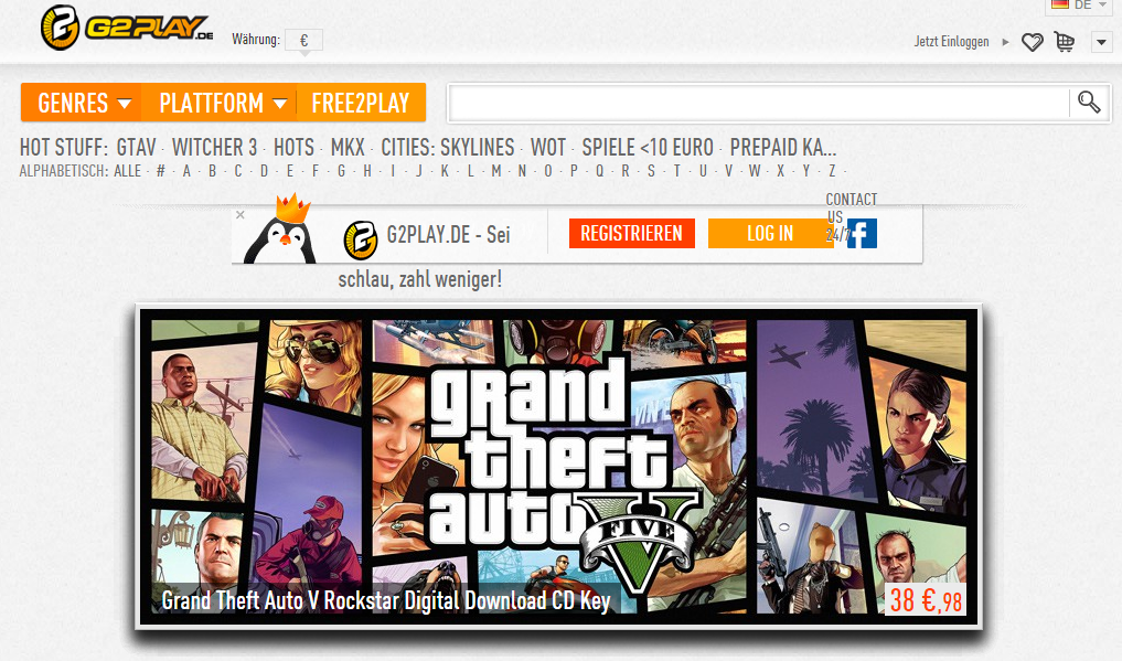 g2play.de - Interessanter Preis für GTA V
