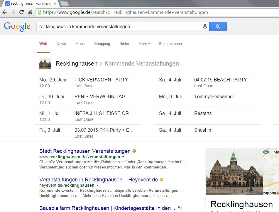 Recklinghausen: kommende Veranstaltungen in den Google SERPs
