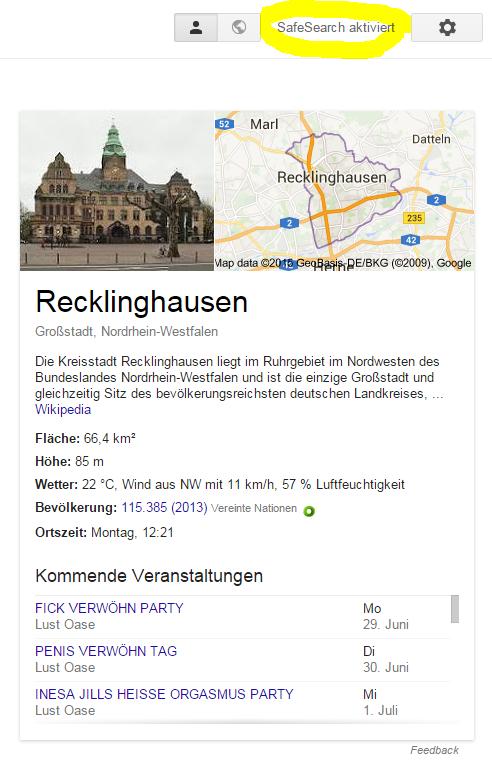 Google Safe Search funktioniert vermutlich nicht für Veranstaltungen