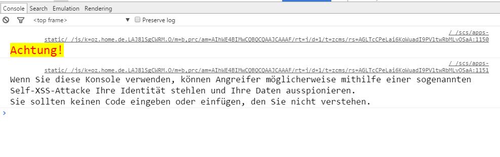 Google+ XSS-Warnung in der Entwicklerkonsole