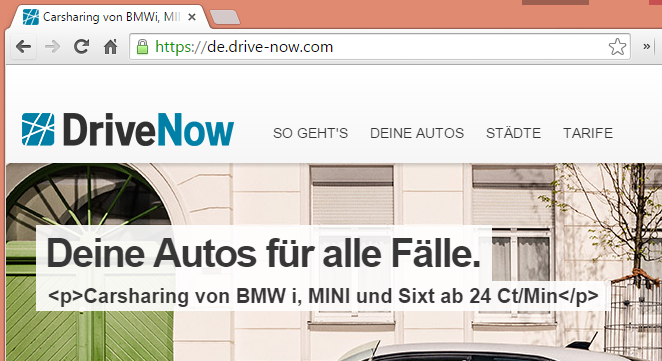 de.drive-now.com - P-Tags im Slider