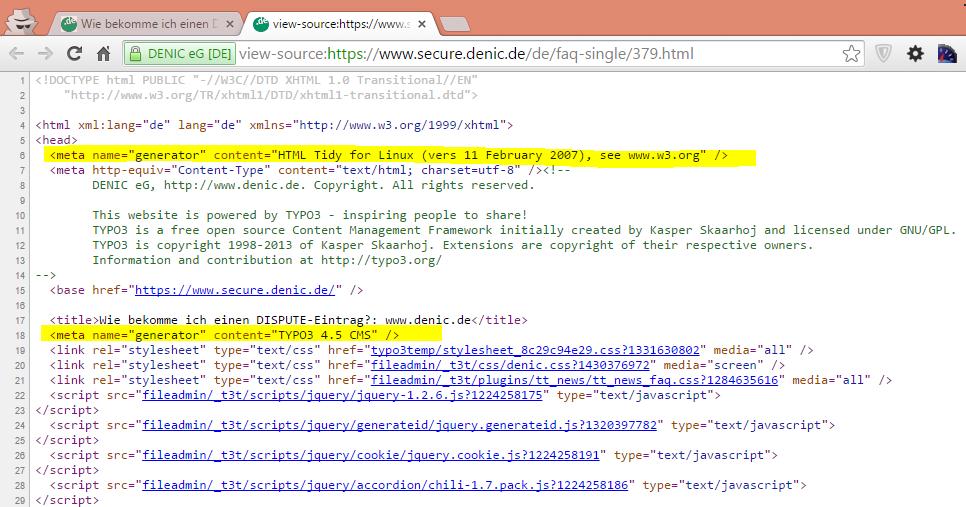 denic.de Quelltext: TYPO3-Version 4.5 und interessanter Meta-Tag
