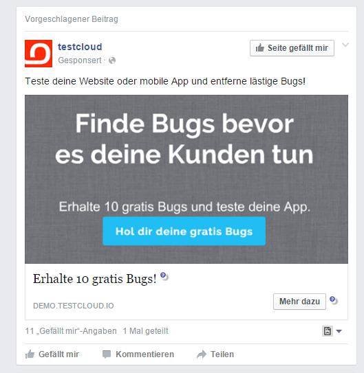 Finde Bugs bevor es deine Kunden tun - Erhalte 10 gratis Bugs und teste deine App