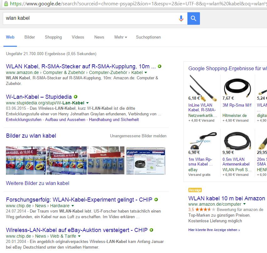 WLAN-Kabel? Amazon schaltet sogar Werbung dafür - und Google Shopping liefert passende Ergebnisse