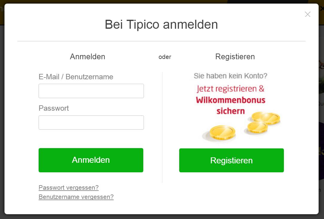tipico.de Live Casino Wetten - Registrierungsformular