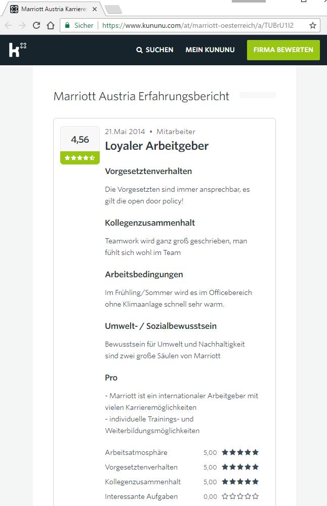 kununu.com - Umfrage: Echte Bewertung (Screenshot 20.02.2017, 17:50 Uhr)