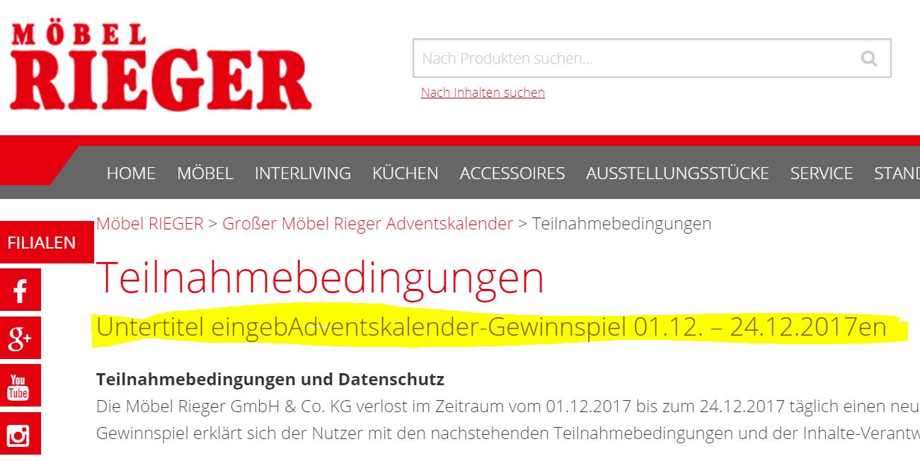 moebel-rieger.de Teilnahmebedingungen Adventskalender 2017 Untertitel eingeben